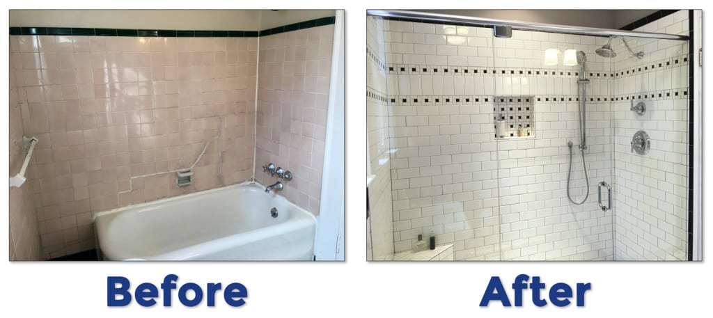 Before and after of a bathroom